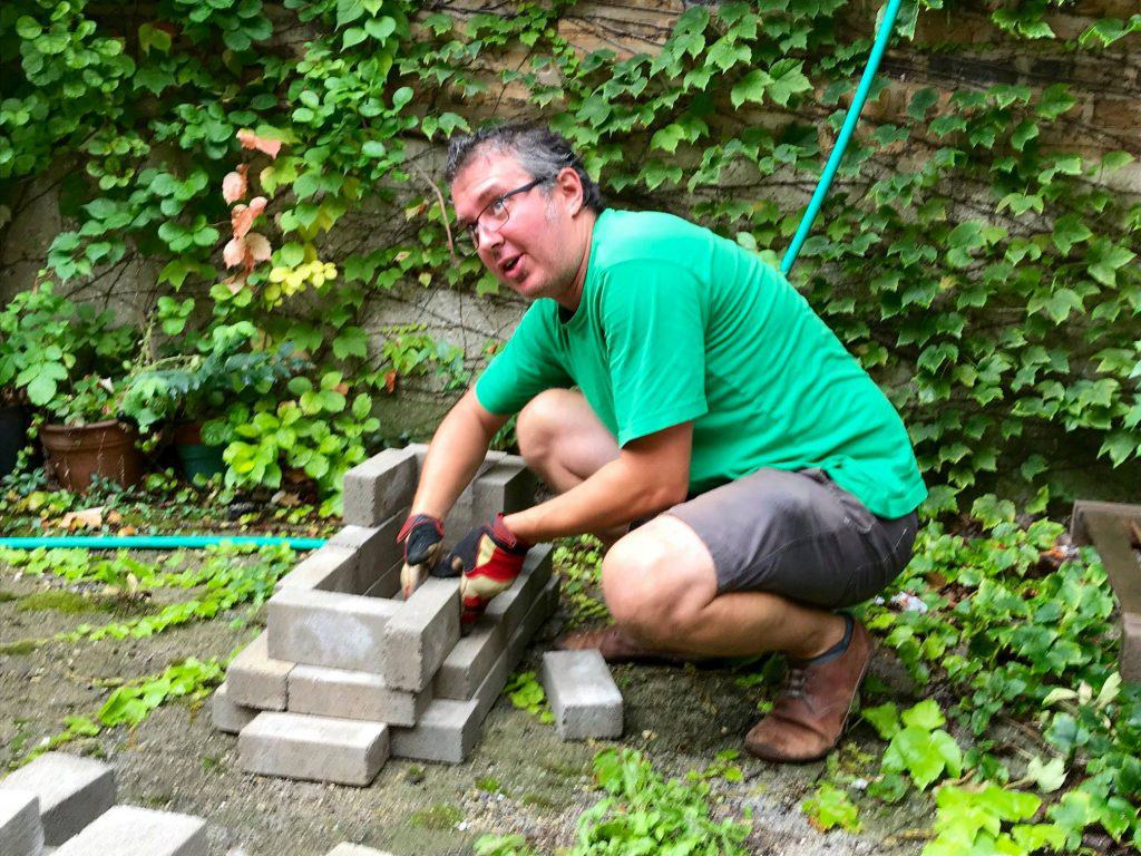 Milton assembling rocket stove